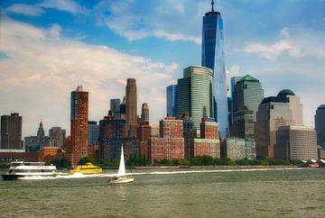 New York Manhattan skyline vanaf de Hudson van Nannie van der Wal