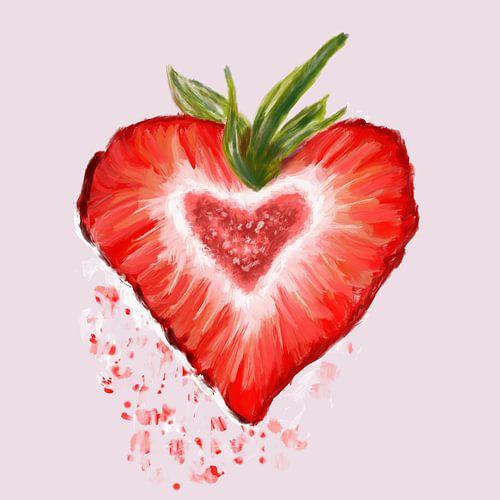 Aardbei rood fruit van Monique Schilder