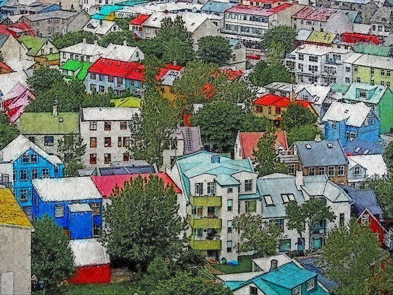 De kleuren van Reykjavik, IJsland van Frans Blok