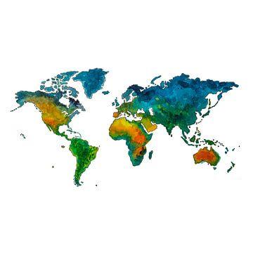 Fröhliche Weltkarte für Kinder | Wandkreis von Wereldkaarten.Shop