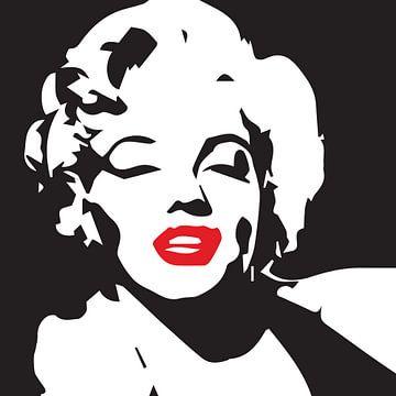 Marilyn Monroe Porträtzeichnung schwarz-weiß mit roten Lippen von sarp demirel