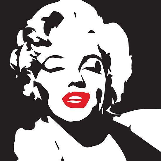 Marilyn Monroe Porträtzeichnung schwarz-weiß mit roten Lippen
