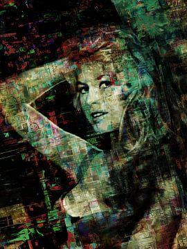 Brigitte in groen collage van Joost Hogervorst