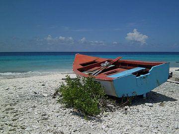 Bootje op de kust. van