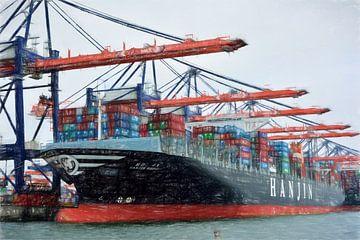tekening containerschip in haven van