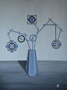 Abstracte vaas met bloemen van Greta Lipman