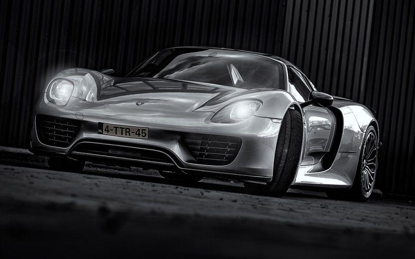 Porsche Spider 918 zwart/wit van Martijn van Dellen