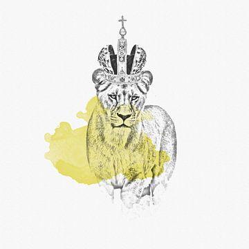 Löwin mit Krone - Zeichnung von Felix Brönnimann