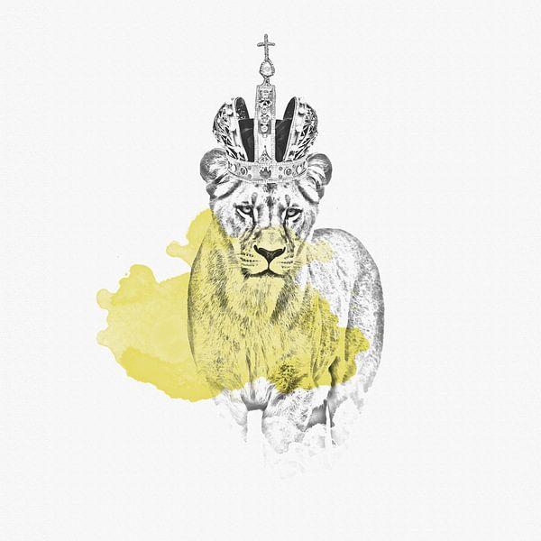 Löwin mit Krone - Zeichnung van Felix Brönnimann