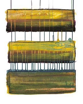 Connected landscapes (acrylverf, oliepastel en zeezand, 2020) van Remke Spijkers
