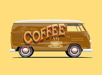 Vintage Bus Kaffee Werbung Schriftzug von Ruben Ooms