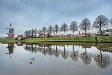 Zicht op de stadswal van Dokkum met molen en bomenrij van Harrie Muis