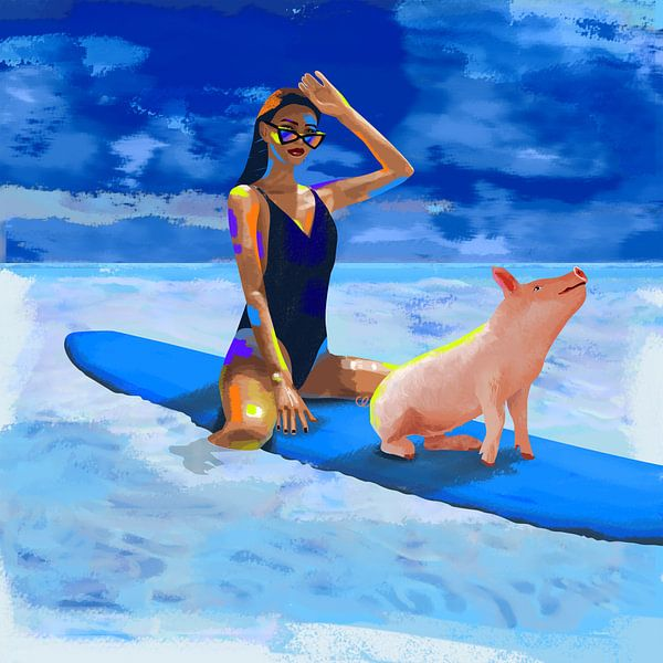 Surfchick with friend van Charlie Moon