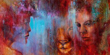 Gemeinsam: Gesichter von Mensch und Raubtier
