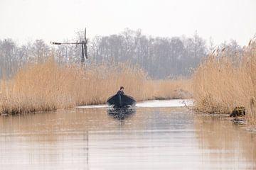 fluisterboot en windmolen in giethoorn van Petra De Jonge