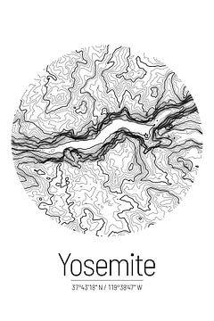 Yosemite Valley | Kaart Topografie (Minimaal) van ViaMapia