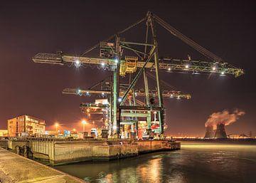 Container terminal kraan met elektriciteitscentrale op de achtergrond, Antwerpen van Tony Vingerhoets