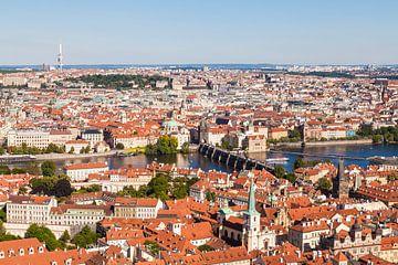 Uitzicht over Praag op de Moldau van Werner Dieterich
