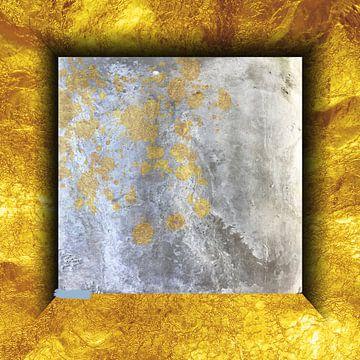 Marmer vierkant op goud van Dray van Beeck