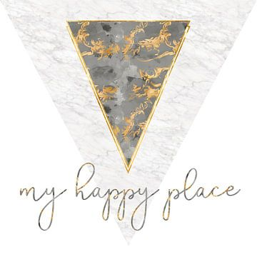 Grafische kunst MARMEREN Mijn happy place | goud  van Melanie Viola