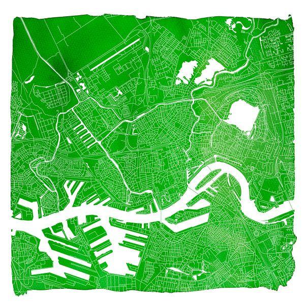 Rotterdam Stadskaart | Groen Vierkant met Witte kader van Wereldkaarten.Shop