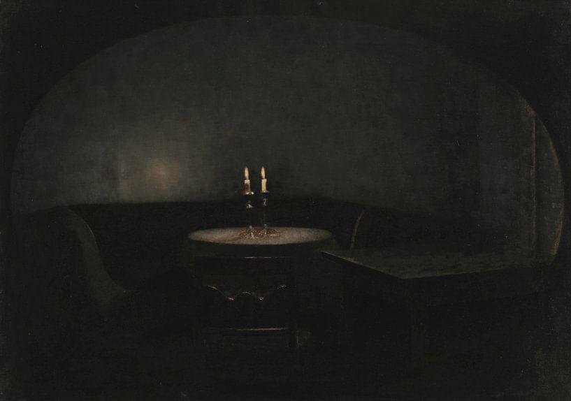 Inneres. Künstliches Licht, Vilhelm Hammershøi von Meesterlijcke Meesters