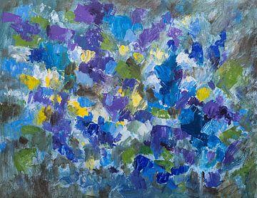 Abstract schilderij impressie viooltjes van Paul Nieuwendijk