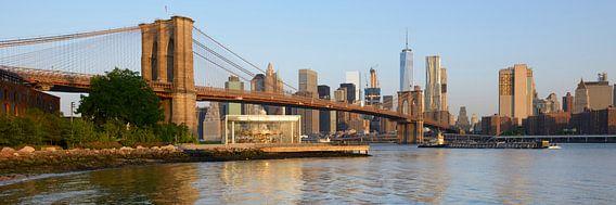 Brooklyn Bridge en Manhattan New York skyline in de ochtend, panorama