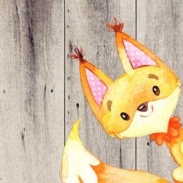 Fox - Waterverf illustratie van Uta Naumann