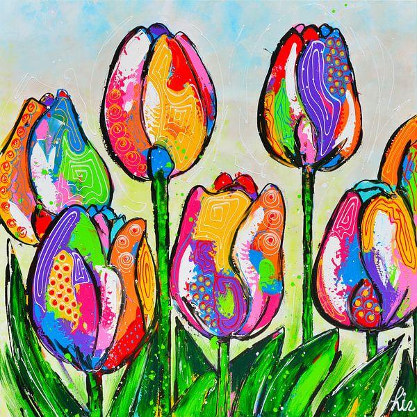 Tulpen uit Amsterdam van Vrolijk Schilderij