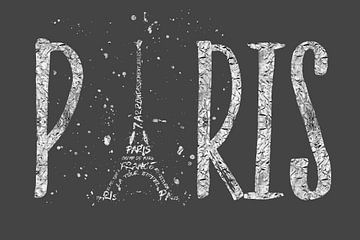 PARIS Typografie | grau silber von Melanie Viola