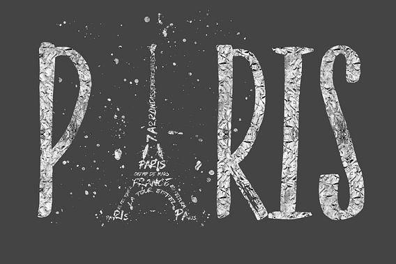 PARIJS typografie   grijs zilver van Melanie Viola