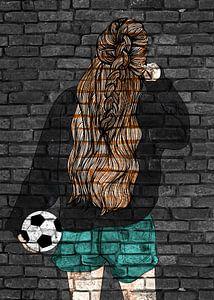 Fußball Spielerin Graffiti Street Art von KalliDesignShop