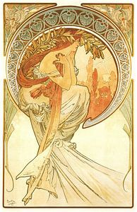 Kunst: Dichtkunst - Art Nouveau Schilderij Mucha Jugendstil van