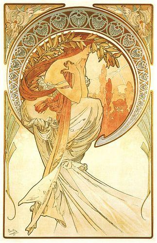 Kunst: Dichtkunst - Art Nouveau Schilderij Mucha Jugendstil van Alphonse Mucha