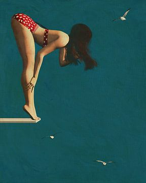 Fille en bikini sur le plongeoir - Un style des années 50 pour aujourd'hui sur Jan Keteleer