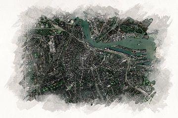 Karte von Amsterdam im Aquarell-Stil von Aquarel Creative Design