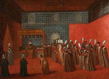 Botschafter Cornelis Calkoen im Auditorium mit Sultan Ahmed III, Jean Baptiste Vanmour, um 1727 - um