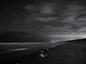 Nachtopnamen van het strand van Heemskerk