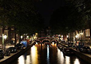 Leidsegracht in Amsterdam in de nacht van R.Phillipson