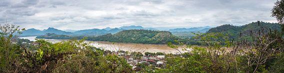 Panorama van de Mekong rivier, Laos