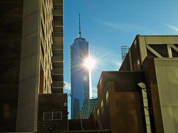 Empire State Buiding New York stemmig met zon en beton van