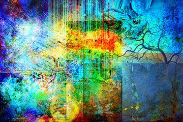 Collage in den Primärfarben , abstrakte von Rietje Bulthuis