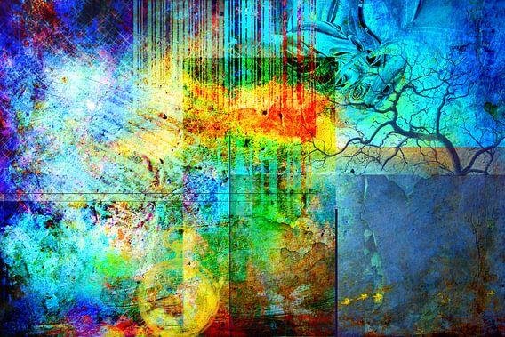 Collage in primaire kleuren, abstract van Rietje Bulthuis