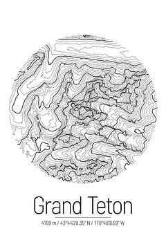 Grand Teton | Kaart Topografie (Minimaal) van ViaMapia