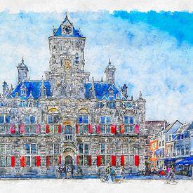 Stadhuis van Delft (aquarel) van Art by Jeronimo