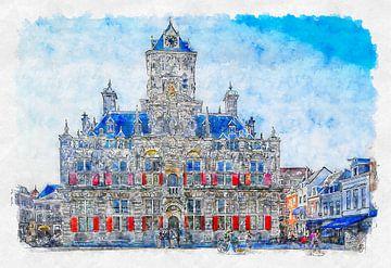 Rathaus von Delft (Aquarell) von Art by Jeronimo