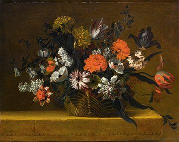 Natura morta con cestino di fiori - Jean-Baptiste Monnoyer von Meesterlijcke Meesters