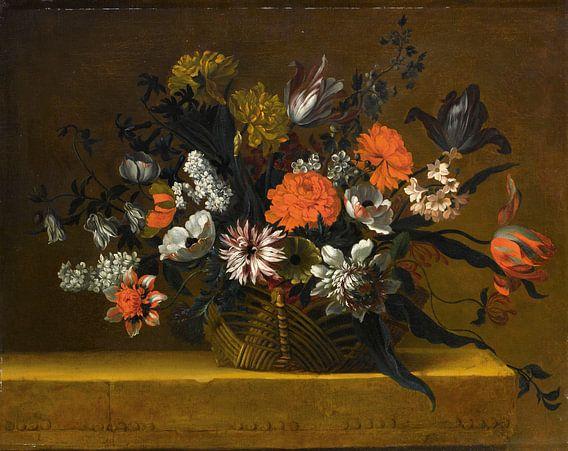 Natura morta con cestino di fiori, Jean-Baptiste Monnoyer van Meesterlijcke Meesters