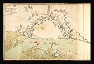 Oude kaart van Nijmegen van omstreeks 1702